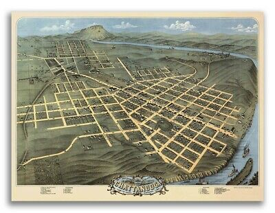 Bird's Eye View 1871 Chattanooga TN Vintage Style City Map - 18x24