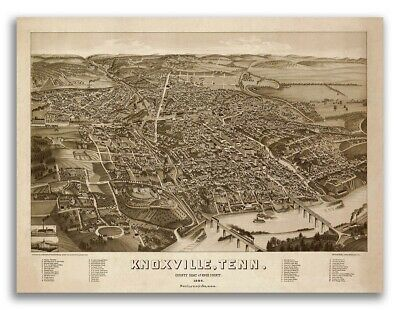 Bird's Eye View 1886 Knoxville TN Vintage Style City Map - 20x28