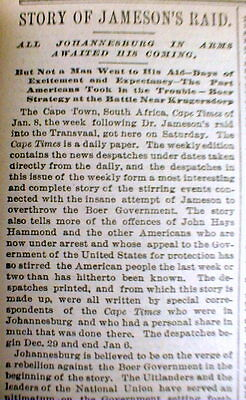 BEST 1896 newspaper JAMESON RAID in SOUTH AFRICA Cause of SECOND BOER WAR Kruger