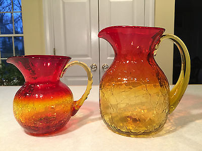 Lot of 2 Vintage BLENKO Amberina Crackle Glass DECORATIVE PITCHERS Ruby Amber