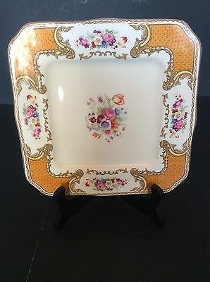 """Royal Crown Myotts Square Plate Hte Bouquet Orange Band Flowers Roses 8.5"""""""