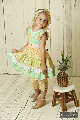 NWT Girls Mustard Pie Andalusia Charli Dress Yellow Multi sz 2T 4 5 6