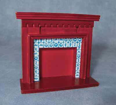 "1/12  Dolls House  Mahogany Fireplace With ""tiles"""