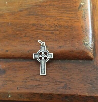 Sterling Silver Medal Ornate Celtic Cross Crucifix  Religious Catholic