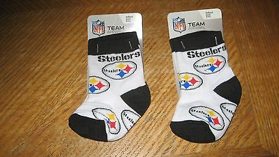 ***  New  ***    Lot Of  2 Pair   Pittsburgh Steelers  Baby  Infant   Socks