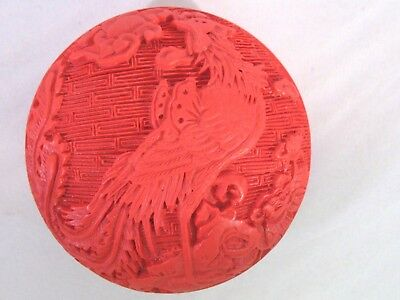 "Vintage Chinese Carved Cinnabar Red 3"" Round Trinket Box Phoenix Bird Design"