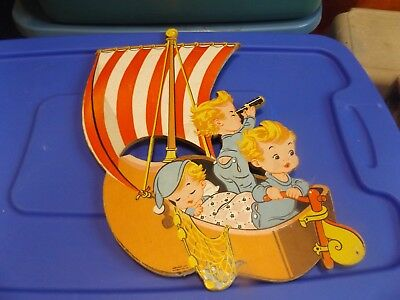Vintage 1957 Nursery Baby Wall Decor Dolly Toy Co 3  SWEET KIDS