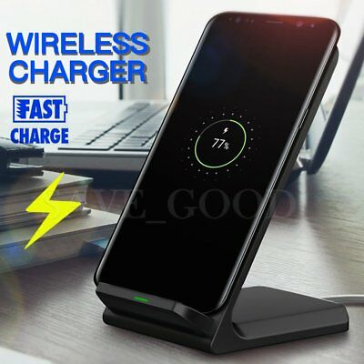 Qi Fast Wireless Charger Pad Stand Charging Dock for Samsung Galaxy S8 S9 Plus