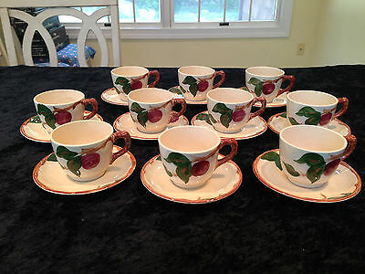 Vintage 10 Sets of FRANCISCAN WARE APPLE PATTERN Coffee Cups & Saucers MINT COND