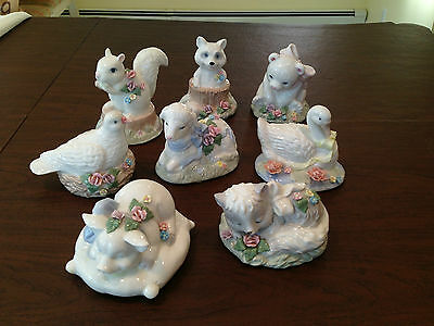 Vintage Set of 8 HERITAGE HOUSE Fine Porcelain Ceramic MUSIC BOXES Baby Animals