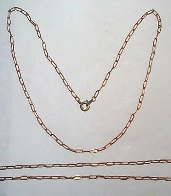 Vintage Solid Brass Wide Link Drawn Chain Finished With Clasp 18 Inches 5 Pcs