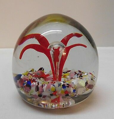 Paperweight Hand Blown Red Burst with Clear Mushroom Multicolored Bottom Vintage
