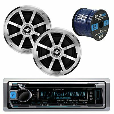 "Kenwood MP3/USB/AUX Bluetooth Marine CD Player, 2x 6.5"" Speakers, 50 Ft 16g Wire"