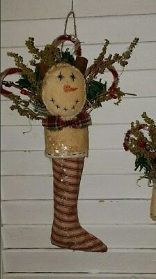 1 Primitive Christmas Stocking w/ Snowman face, Sweet Annie and Red Pip Berries