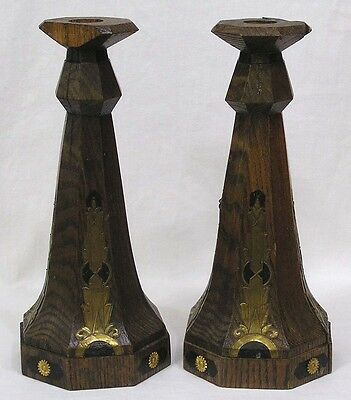 "Vintage Arts & Crafts Oak Candlesticks Applied Brass Trim and Enamel 12"" Tall"
