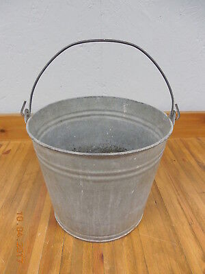 Vintage #10 Galvanized Pail with Handle  #