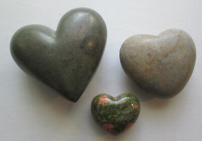 "Lot of 3 Carved Polished Stone Hearts Large 3.5"" Medium 2⅞"" Small 1.75"" Healing"