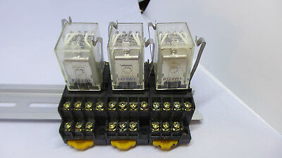 (3) Omron Cube Relay MY4N, With Bases