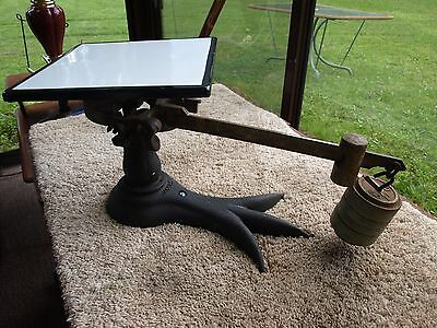 Vintage Jacobs Cast Iron and Brass Crows Foot 35 Pound Scale Enamel Tray