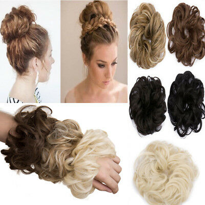 Scrunchie Scrunchy Bun Up Do Hair piece Ponytail Extensions Wavy Curly or Messy