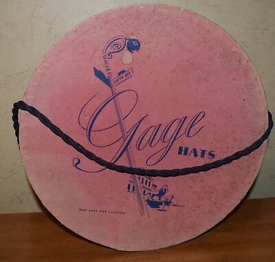 Vintage Gage Hats 5th Avenue Cardboard Hat Box ,  Rope Handle, Striped