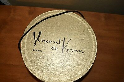 Vintage VINCENT D KOVEN Cardboard Hat Box ,  Rope Handle VERY GOOD CONDITION