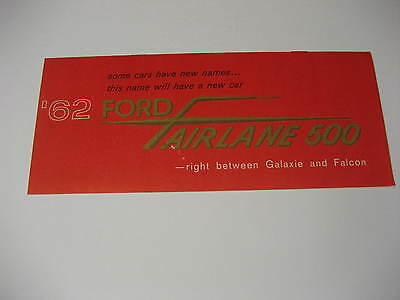 1962 Ford Fairlane Introductory Info Brochure