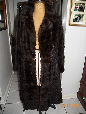 vintage mahogany brown convertible mink fur lg coat jacket unzip 3 style length