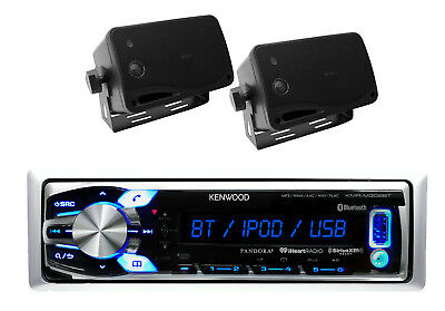 New Kenwood Marine Car USB AUX iPod Input AM/FM Media & 200W Box Marine Speakers