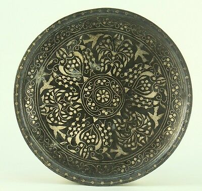 !Antique 1800's Qajar Persian NIELO Damascened Silver Inlay Plate, Thick & Heavy
