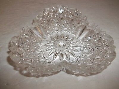 Vintage Crystal Glass Round 3 Sided Button & Daisy Trinket Jewelry Vanity Dish