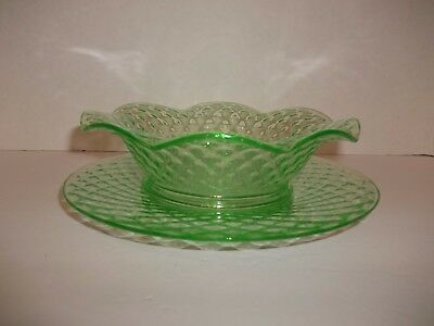 Vintage Imperial Diamond Quilted Green Depression Glass Vaseline Bowl Dish Plate