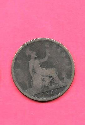 Great Britain Gb Km749.2 1866 Vg-Very Good-Nice Old Vintage Antique Penny Coin