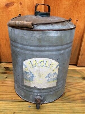 RARE Vintage EAGLE Handy Grip Galvanized Gas Oil Kerosene Can with Spigot