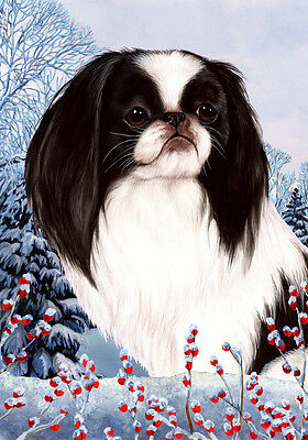 Garden Indoor/Outdoor Winter Flag - Japanese Chin 151331