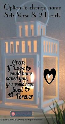 Vinyl Sticker For IKEA Lantern - If Love could have Saved you - Personalised