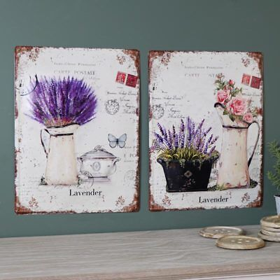 Set of 2 vintage floral lavender rose metal wall plaques shabby French chic gift