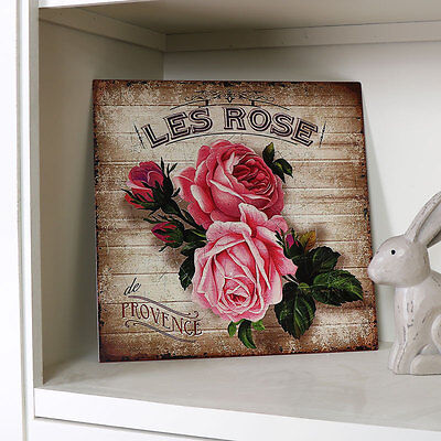 Vintage aged style metal rose wall plaque shabby French chic picture home gift