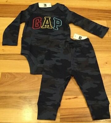 Baby Gap Boy 6-12 Months Outfit. GAP Logo Camo Shirt & Camouflage Pant. Nwt