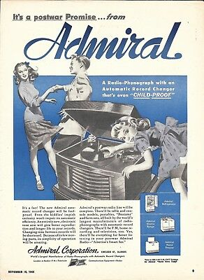 1944 Admiral Radio Phonograph Child Proof Ad Couple Dancing