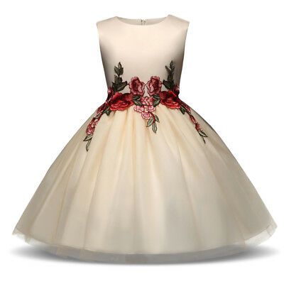 Floral Champagne Gown Wedding Princess Girls Dress Flowergirl Party Kids Clothes