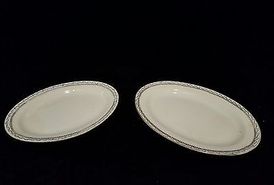 Vintage 2pc Edward M Knowles Vitreous China Hostess Oval Serving Platters