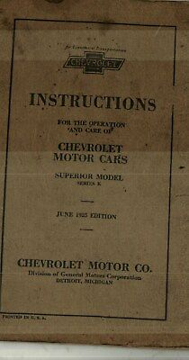 1925 Chevrolet Superior Series K Car Owner's, Operator's Manual