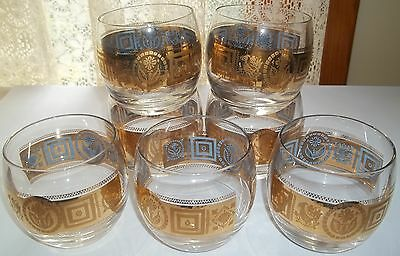 """Seven Culver CORONET Roly Poly Cocktail Glasses 3 1/4"""""""