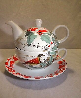 Porcelain Tea Set for One with Holly and Bird Design - Christmas Boxed Gift Set