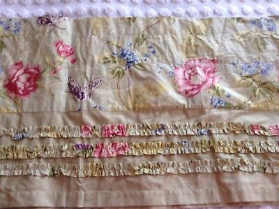Pair Of Lovely French Country Cottage Mary Jane's Home Floral Valances Green