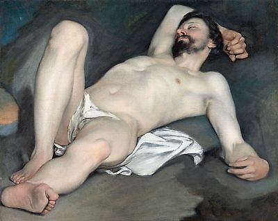"Guido Cagnacci, Reclining Male Nude, 1640, antique decor, 20""x16"" Canvas Art"