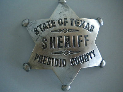 Sheriff State of Texas Presidio County Large Star Badge