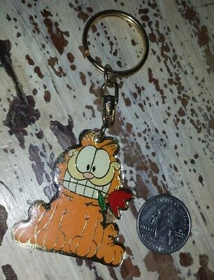 New Garfield Enamel Key Chain With Red Tulip In Mouth Valentines