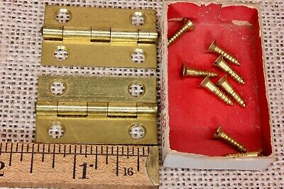 "2 door hinges NOS bright brass 1 1/2 x 7/8"" antique box narrow butt vintage old"